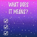 O texto da escrita o que o faz significa a pergunta O significado do conceito que pede a significado algo disse e n?o compreende ilustração stock