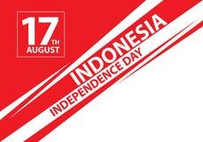 17o texto de Indonésia do dia de August Independence na linha vetor da velocidade da celebração do feriado do projeto Foto de Stock Royalty Free