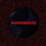 O texto de Ransomware com terra na noite e o vermelho encantam a ilustração do código Foto de Stock Royalty Free