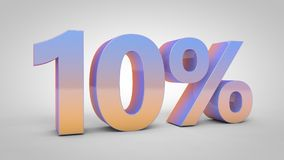 o texto do inclinação de 10% no fundo branco, 3d rende Fotos de Stock