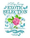 O texto do slogan com flores vector a arte no fundo branco Imagens de Stock Royalty Free