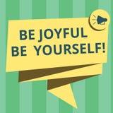 O texto escrever seja alegre seja você mesmo da escrita O significado do conceito aprecia a felicidade da vida que sorri 3D dobra ilustração royalty free