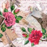 O texto escrito da m?o, notas, cora??es, bicicleta com as flores na cesta, foto do vintage da torre Eiffel, aumentou as flores, p ilustração royalty free