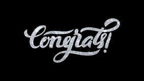 O texto piscar de Congrats deseja cumprimentos das partículas, convite, fundo da celebração