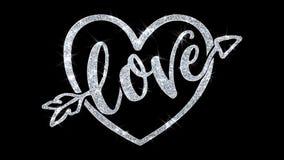O texto piscar do cora??o do amor deseja cumprimentos das part?culas, convite, fundo da celebra??o