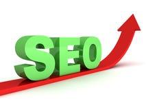 O texto verde do seo no vermelho cresce acima a seta Imagem de Stock