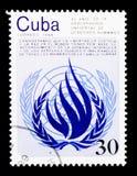O 40th aniversário da declaração do serie dos direitos humanos, cerca de 1988 Imagens de Stock Royalty Free
