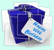 O 40th presente de aniversário feliz indica a idade quarenta Fotos de Stock