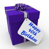 O 40th presente de aniversário feliz mostra a idade quarenta Imagem de Stock