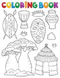 O thematics africano do livro para colorir ajustou 1 ilustração royalty free