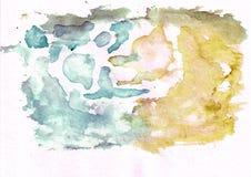 O thw cerulean escuro do ocre da cerceta e do bronze abstrai o fundo da aquarela Ele ` s útil para cartões, Valentim Imagens de Stock