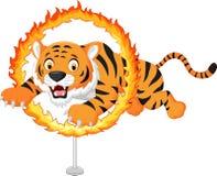 O tigre dos desenhos animados salta através do anel de fogo Imagens de Stock