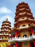 O tigre e o Dragon Pagodas em Taiwan foto de stock