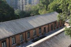 O tijolo vermelho construiu a estrutura em Hong Kong imagem de stock royalty free