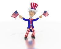 O tio Sam acena duas bandeiras americanas pequenas Fotografia de Stock Royalty Free