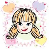 O tipo caucasiano cara da menina que expressa emo??es positivas, vector a ilustra??o da cabe?a humana ilustração do vetor