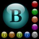 O tipo corajoso ícones da fonte na cor iluminou os botões de vidro Fotografia de Stock Royalty Free
