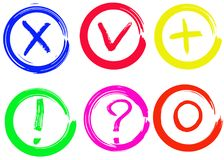 O tiquetaque, a cruz, o sinal de adição, o zero, os pontos de interrogação e a exclamação vector sinais Imagens de Stock