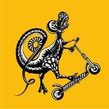 O tiranossauro Rex está montando em um 'trotinette' do pontapé Ilustração do gráfico de vetor, estilo da tatuagem ilustração royalty free