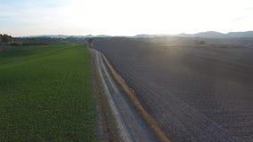 O tiro aéreo, montes lindos de Toscânia ajardina com luz do por do sol, acercamento de Toscânia vídeos de arquivo
