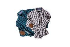 O tiro liso dos homens verificou camisas Imagens de Stock Royalty Free