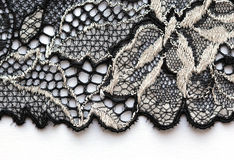 O tiro macro do material branco e preto da textura do laço Fotos de Stock