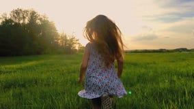 O tiro traseiro do por do sol da menina bonito do adolescente veste o vestido que corre no prado verde 120 fps, slowmotion video estoque