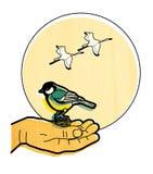 O Titmouse senta-se na palma de um homem Os guindastes voam através de um disco solar contra o céu Ilustração em uma textura da á ilustração royalty free