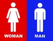 O toalete assina dentro o vermelho e o azul Fotografia de Stock Royalty Free