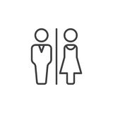 O toalete do homem e da mulher alinha o ícone, sinal do vetor do esboço, pictograma linear isolado no branco Fotos de Stock Royalty Free