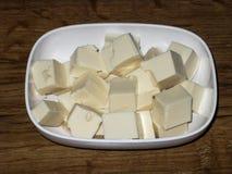 O tofu macio cortou em cubos Foto de Stock Royalty Free