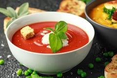 O tomate e a sopa fresca da manjericão com alho, grãos rachados da pimenta, servidos com queijo parmesão, brindam o pão fotografia de stock