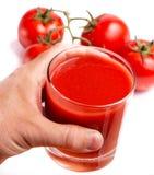 O tomate Juice Shows Refreshments Thirsty And do rasgo refresca fotografia de stock
