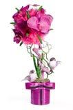 O topiary floral com dois pássaros Fotos de Stock Royalty Free