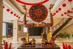 O totem de Hubei Hubei assina a laca & o x22; drum& x22 do quadro do pássaro do tigre; Foto de Stock Royalty Free
