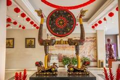 O totem de Hubei Hubei assina a laca & o x22; drum& x22 do quadro do pássaro do tigre; Imagens de Stock Royalty Free