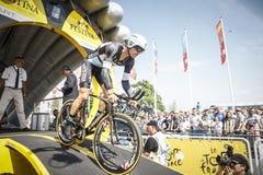102o Tour de France - ensayo del tiempo - primera fase Fotografía de archivo libre de regalías