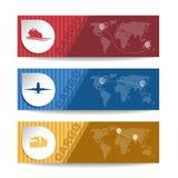 O touro vermelho e o transporte de carga amarelo da bandeira vector o fundo Imagens de Stock Royalty Free
