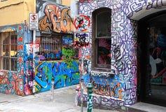 O tráfego assina dentro o Hosier Lane Melbourne Fotos de Stock Royalty Free
