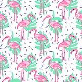O trópico do flamingo e da palma do pop art do verão ramifica teste padrão sem emenda Fotos de Stock