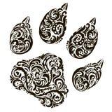 O traço, a impressão do projeto do animal para a tatuagem, logotipo, cópia, teste padrão floral, estilo da fantasia Ilustração do Fotos de Stock