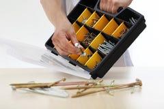 O trabalhador da mão escolhe os parafusos da caixa, fim de uma porca acima Foto de Stock