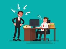 O trabalhador de escritório cansado adormecido em uma mesa ao lado dela é um chefe irritado ilustração royalty free