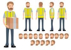 O trabalhador do armazém Construtor do caráter para poses diferentes ilustração do vetor