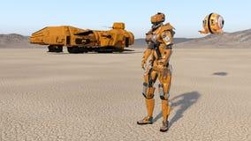 O trabalhador do Cyborg com nave espacial e o zangão, robô do humanoid com nave espacial explorando o planeta abandonado, android ilustração do vetor