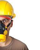 O trabalhador em protetor significa Foto de Stock