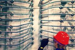 O trabalhador em um capacete na planta Foto de Stock Royalty Free