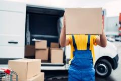 O trabalhador guarda a caixa da caixa, negócio da distribuição fotografia de stock