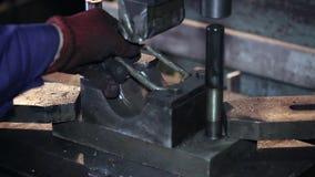 O trabalhador limpa o selo e o detalhe do selo video estoque