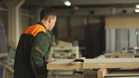 O trabalhador mói a madeira da máquina de moedura angular video estoque